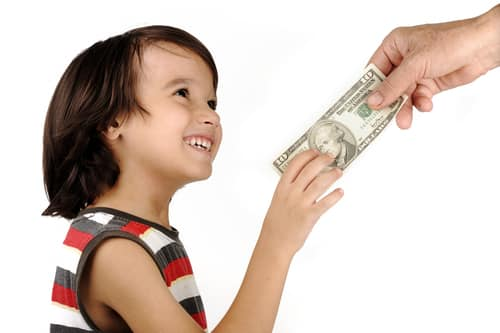 a girl asked for money and received money