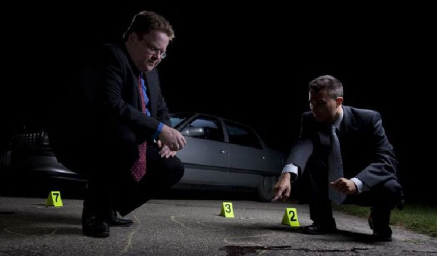 smart police detectives investigating a crime