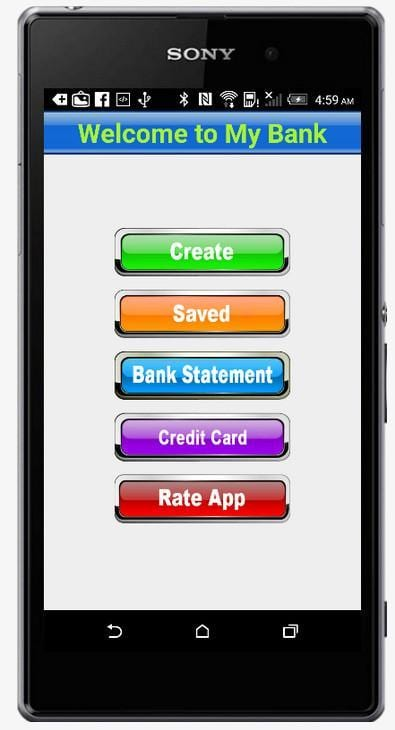 create a fake bank account using a bank app