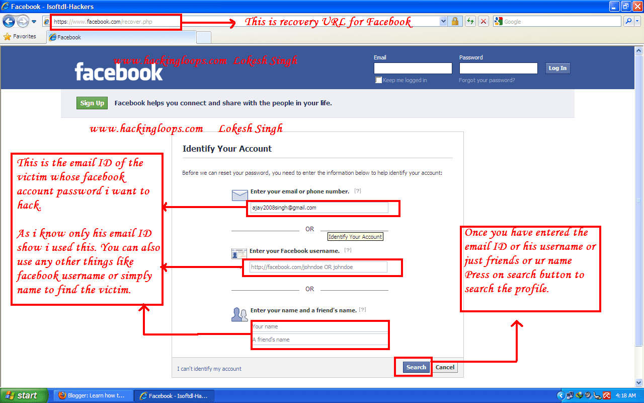 using url recovery for Facebook hacking