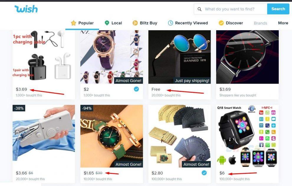 cheap products on Wish