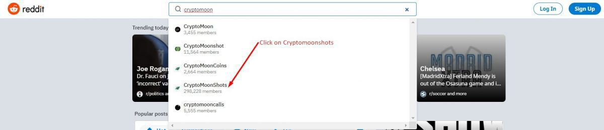 search for cryptomoonshots